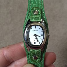 Fossil green leather watch Fossil green leather watch. Needs a new battery- in excellent used condition Fossil Jewelry