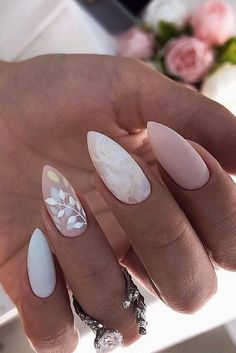 White Gel Nails, Rose Gold Nails, Glitter Nails, Marble Nail Designs, Nail Art Designs, Ongles Rose Pastel, Pastel Pink Nails, Pastel Colors, Stars Nails