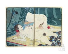 A 'Shunga' (Erotic) Print: 'All Passion Spent - the Satisfied Woman', C.1855 Giclee Print by Kuniyoshi Utagawa at Art.com