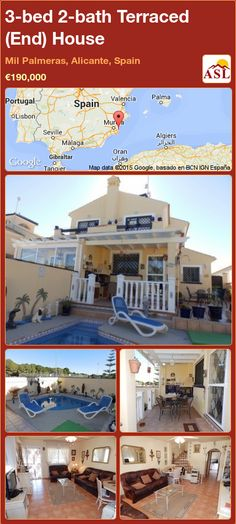 Terraced (End) House for Sale in Mil Palmeras, Alicante, Spain with 3 bedrooms, 2 bathrooms - A Spanish Life Semi Detached, Detached House, Valencia, Independent Kitchen, Portugal, Alicante Spain, Family Bathroom, Double Bedroom, Patio Doors