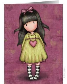 Browse all our Gorjuss Girls by Santoro London. Including dolls, bags, cards, arts & crafts & more. 3d Cards, Pop Up Cards, Little Doll, Little Girls, Illustrations, Illustration Art, Santoro London, Swing Card, Cute Images