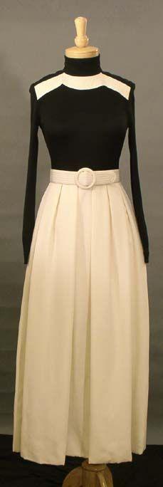 Donald Brooks black and white evening gown via Vintageous.