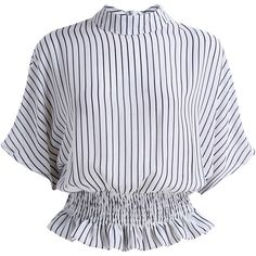 SheIn(sheinside) Black White Stand Collar Vertical Stripe Blouse ($9.99) ❤ liked on Polyvore featuring tops, blouses, shirts, white, 3/4 sleeve tops, white peplum top, collared shirt, white shirt and chiffon blouse
