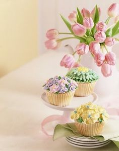 Easter,  my inspiration is to take mini faux flowers and make these cupcakes as ornaments.