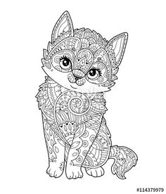 Hand Drawn Sketch Little Cat With Floral Oprament Adult Antistress Coloring Page Decorative Element For T Shirt Emblem Tattoo Logo