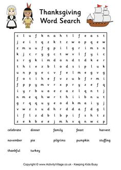 Thanksgiving word search 2