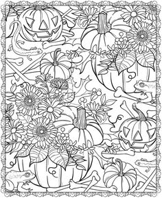 Get the coloring page: pumpkins Image Source: Dover Publications