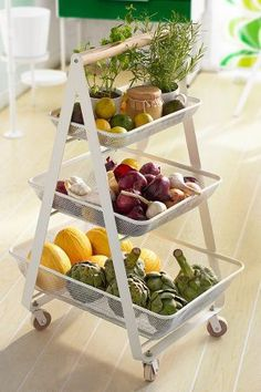 Use a utility cart to store your fruit and veggies to keep them fresh longer. Repin if you want this in your kitchen!