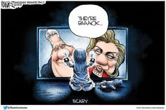 Michael Ramirez Cartoon 06/02/2015 - Bill and Hillary Clinton starring in Poltergeist