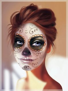 Looking for for ideas for your Halloween make-up? Browse around this website for cool Halloween makeup looks. Sugar Skull Halloween, Cool Halloween Makeup, Sugar Skull Art, Halloween 2018, Scary Halloween, Sugar Skulls, Candy Skulls, Sugar Scull Costume, Halloween Stuff