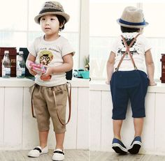 Summer Lastest Vogue Kids Toddler Clothing Boys Rompers Suspender Pants Sz2-7Y #New #SuspenderPants #Everyday