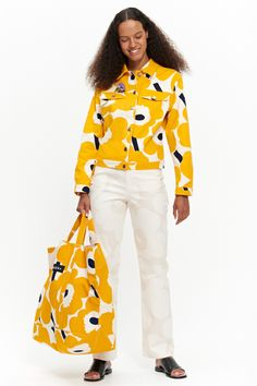 specializes in Finnish and Scandinavian design featuring Marimekko, iittala, Ilse Jacobsen, Ritva Falla & more. Vacation Outfits, Summer Outfits, Colour Therapy, Yellow Pattern, Jacket Pattern, Marimekko, Weekend Vibes, Styling Tips, Aesthetic Clothes