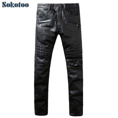 (46.55$)  Buy here - http://aiwwj.worlditems.win/all/product.php?id=32747033790 - Sokotoo Men's fashion black coated stretch denim biker jeans Slim motorcycle pants Pleated long trousers