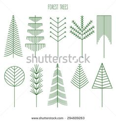 Forest trees set. Line illustration of trees. Hipster and simple modern style. Vector Illustration for print, logos, badges, emblems, labels. Forest camping. Spruce, pine, deciduous trees.