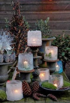 Eislaterne - Candles and Lanterns - Noel Best Outdoor Christmas Decorations, Elegant Christmas Decor, Decoration Christmas, Christmas Porch, Noel Christmas, Country Christmas, All Things Christmas, Winter Christmas, Christmas Lights