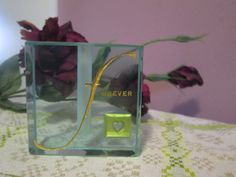"""Glass paperweight, """"forever"""" and a heart painted gold etched into surface, gift of love - pinned by pin4etsy.com"""