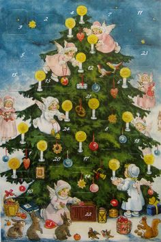 Vintage Christmas Backgrounds   Christmas tree advent card made in Germany   Vintage Christmas Pictur ...