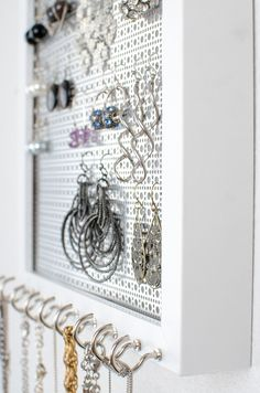 Hook Earring & Necklace Organizer - 8x10 White Frame