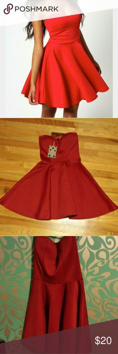 Red sweetheart strapless skater dress Never worn, new with tags red strapless dress. Size runs on the smaller side. Boohoo Dresses Strapless