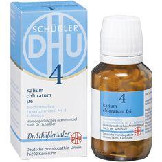 BIOCHEMIE DHU 4 Kalium chloratum D 6 Tabletten:   Packungsinhalt: 200 St Tabletten PZN: 02580533 Hersteller: DHU-Arzneimittel GmbH & Co.…