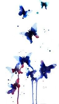 watercolor tattoo, maybe in birthstone colors