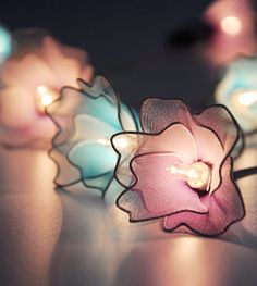 Purple & Blue flower string lights for Patio,Wedding,Party and Decoration (20 bulbs) on Etsy, $16.50