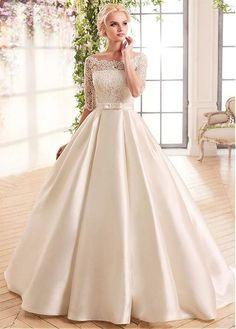 Buy discount Gorgeous Lace & Satin Bateau Neckline A-Line Wedding Dresses With Belt at Dressilyme.com