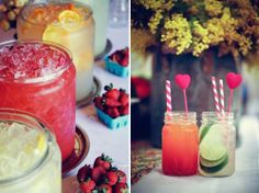 Colorful drinks in mason jars with heart drink stirs Party Drinks, Cocktail Drinks, Fun Drinks, Cocktails, Beverages, Cocktail Ideas, Refreshing Drinks, Tea Party, Mason Jar Drinks