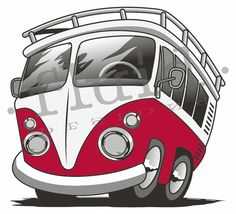 Cartoon VW Bus for Bus Trippers logo revision   ©  Fluid ©  www.fluiddsn.com