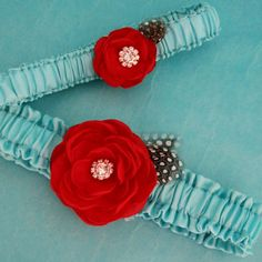 Bridal Garters Tiffany Blue and Red Feather Rose by HARTfeltart, $40.00