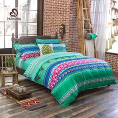 ParkShin Bedding Set Lawn Green Home Textiles Bright Fashion Duvet Cover Set Boho Style Bed Set Luxury Sheet Queen Size Bedlinen