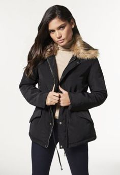 New-With-Tag-Justfab-Black-Color-Lux-Parka-Women-039-s-Fall-Winter-Jacket