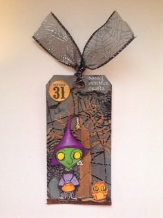 Sassy Monster Crafts: Gloomsville Witch Tag using a digital stamp from The Octopode Factory