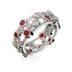 Sterling Silver Jewelry - Tiffany Inspired Ruby Bubbles Sterling Silver Ring