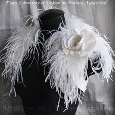Wedding Bolero Bridal Shrug Handmade Dupioni Raw Silk Ivory Ostrich Silk Rose Brooch Satin Lined Fre Wedding Shrug, Wedding Dress, 1920s Wedding, Wedding Fun, Bird Of Paradise Wedding, Dress Form Christmas Tree, Coque Feathers, Ostrich Feathers, Gatsby Dress
