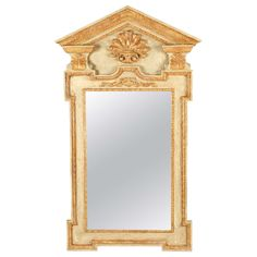Large George II Painted and Parcel-Gilt Pier Mirror