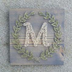 Custom string art laurel leaf monogram sign by Blossomingburlap on etsy - Diy Crafts Ideas Projects String Art Templates, String Art Patterns, Nail Patterns, Clothes Patterns, Dress Patterns, Cute Crafts, Crafts To Do, Arts And Crafts, String Art Diy