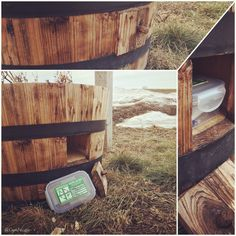 Very neat geocache hide in Sidney, MT! Tucked away in a secret compartment.  (pics by Geocaching Jangie, pinned to Creative Geocache Containers - https://www.pinterest.com/ibgeocaching/creative-geocache-containers/) #IBGCp