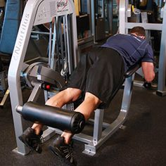 Lying leg curl  Start with light weight 2 sets of 20. After do heavier weight with 2 sets of 15 reps