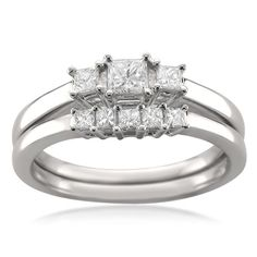 Montebello 14k White Gold 1/2ct TDW Princess-cut Diamond Bridal Ring Set (H-I, I1) (Size 8), Women's