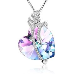 Heart Crystal/Birthstone Pendant Necklace, Adan Banfi Purple Blue Love Jewelry Made with Crystals, Ideal Gifts for Women - Courageous Heart, Birthday Gifts (Crystal Cupid) ** Visit the image link more details. (This is an affiliate link) Cute Jewelry, Jewelry Accessories, Magical Jewelry, Necklace For Girlfriend, Birthstone Pendant, Crystal Necklace, Pendant Necklace, Purple Necklace, Cute Necklace