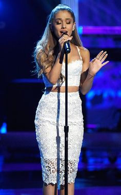 Ariana Grande Braves The Cold In A Crop Top And Miniskirt