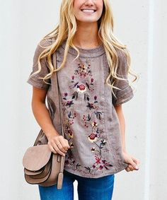 Another great find on #zulily! Mocha Floral Embroidered Top #zulilyfinds