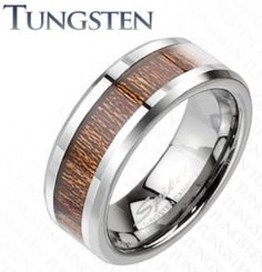 New Tungsten Men's Wood Inlaid/Inlay Comfort Fit Band Ring Size 9-13 (TU207) in Rings   eBay
