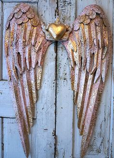 Check out Pink and gold metal angel wings wall hanging lg rusty distressed aged shabby cottage chic wing set accented white home decor anita spero on anitasperodesign Diy Angel Wings, Angel Wings Wall Decor, Heart Wall, Heart Frame, Feather Wall Art, Wing Wall, White Home Decor, Shabby Chic Cottage, Gold Heart