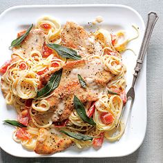 Here's our new spaghetti-dinner riff on saltimbocca. Use any noodle you wish, or try with chicken cutlets.