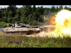 Russian tanks firing in action during Russian armed force training