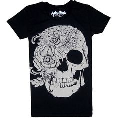 Black Punk Style T-shirt with Rose and Skull Print ($29) ❤ liked on Polyvore featuring tops, t-shirts, shirts, t shirts, short sleeve t shirt, rose t shirt, round neck t shirt, punk t shirts and skull shirt