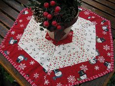Candy Corn Table Topper is a Quick and Easy Project - Quilting DigestYou can find Table toppers and more on our website. Christmas Sewing, Christmas Projects, Christmas Crafts, Christmas Patchwork, Table Topper Patterns, Quilted Table Toppers, Table Runner And Placemats, Table Runner Pattern, Candy Corn