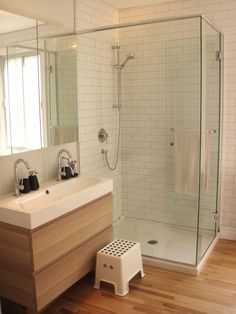 This is the same floating IKEA vanity - comes in this color as well - White stained oak Simple shower area as well - classic white subway tile is timeless House Bathroom, Bathroom Inspiration, Small Bathroom Renos, Small Bathroom, Laundry In Bathroom, Bathroom Design, Shower Room, Oak Bathroom, Bathroom Layout
